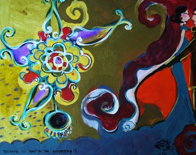 2010.15 série O Baile.Tecendo o poema do encontro. Acrílica s.papel50x40cm