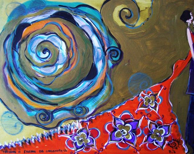 2010.16 série O Baile.Tecendo o poema do encontro. Acrílica s.papel50x40cm