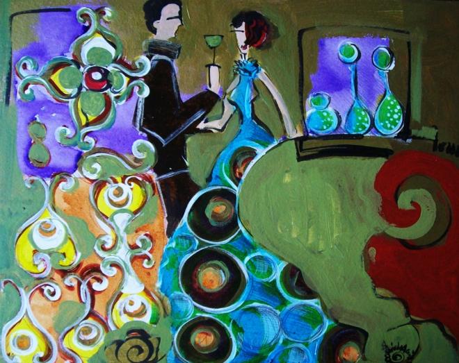 2010.17 série O Baile.Tecendo o poema do encontro. Acrílica s.papel50x40cm