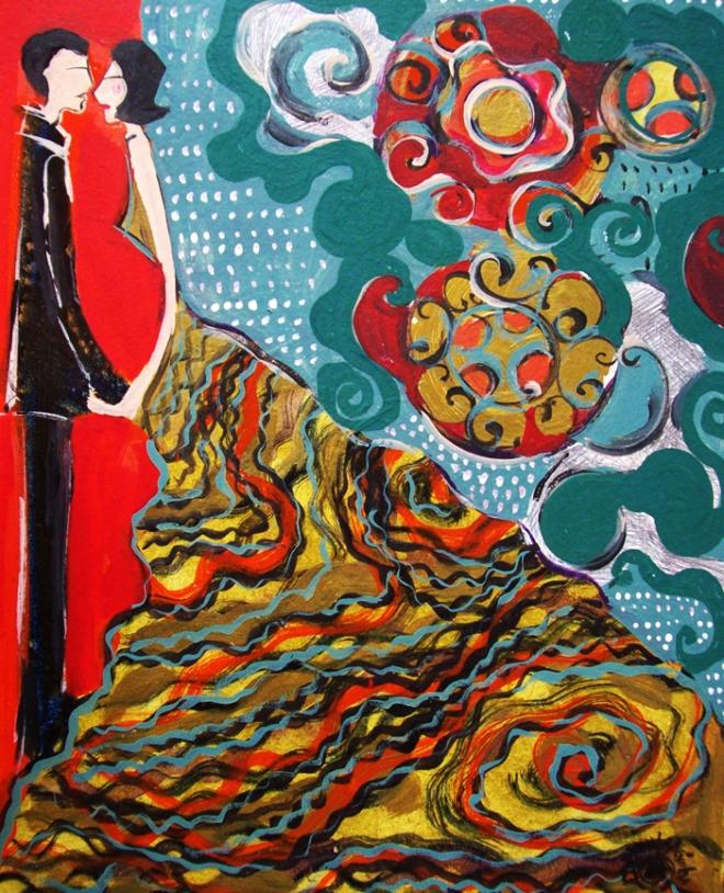 2010.21 série O Baile.Tecendo o poema do encontro. Acrílica s.papel50x40cm