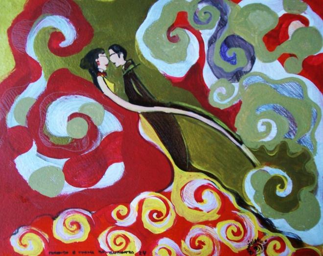 2010.24 série O Baile.Tecendo o poema do encontro. Acrílica s.papel50x40cm