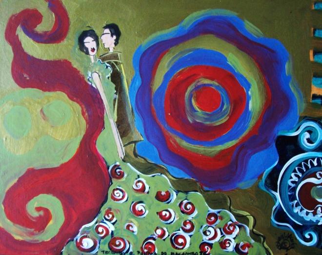 2010.26 série O Baile.Tecendo o poema do encontro. Acrílica s.papel50x40cm