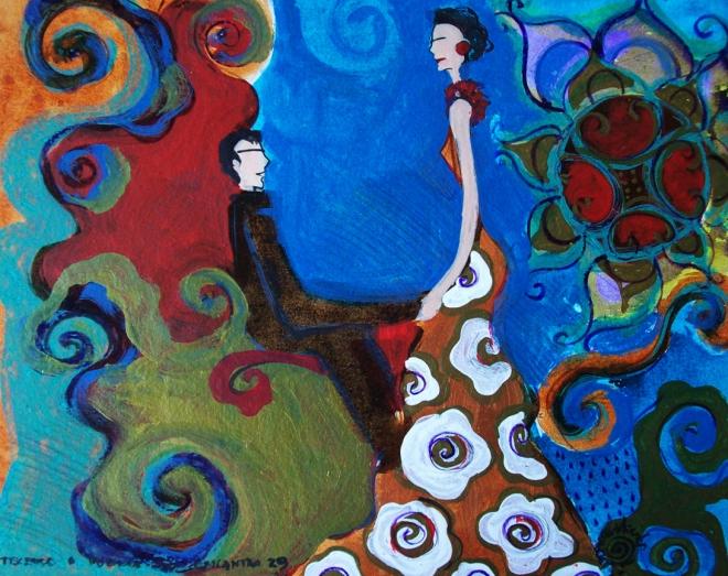 2010.29 série O Baile.Tecendo o poema do encontro. Acrílica s.papel50x40cm
