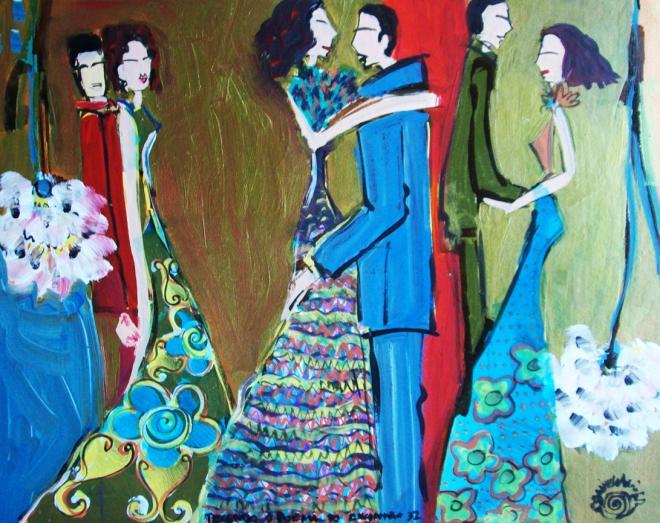 2010.32 série O Baile.Tecendo o poema do encontro. Acrílica s.papel50x40cm
