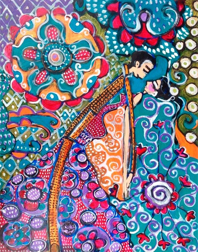 2015.57 série O Baile.Tecendo o poema do encontro. Acrílica s.papel50x40cm