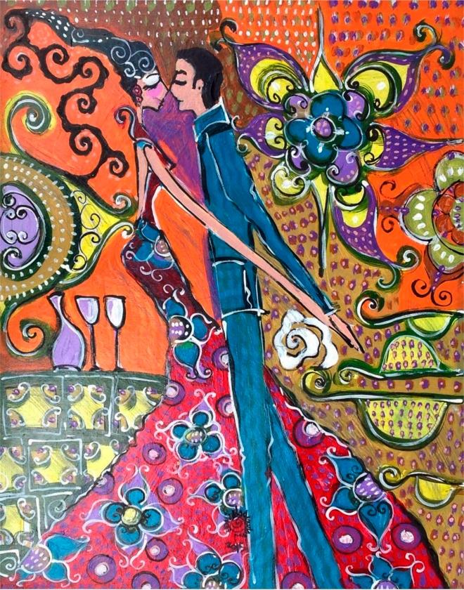 2015.58 série O Baile.Tecendo o poema do encontro. Acrílica s.papel50x40cm