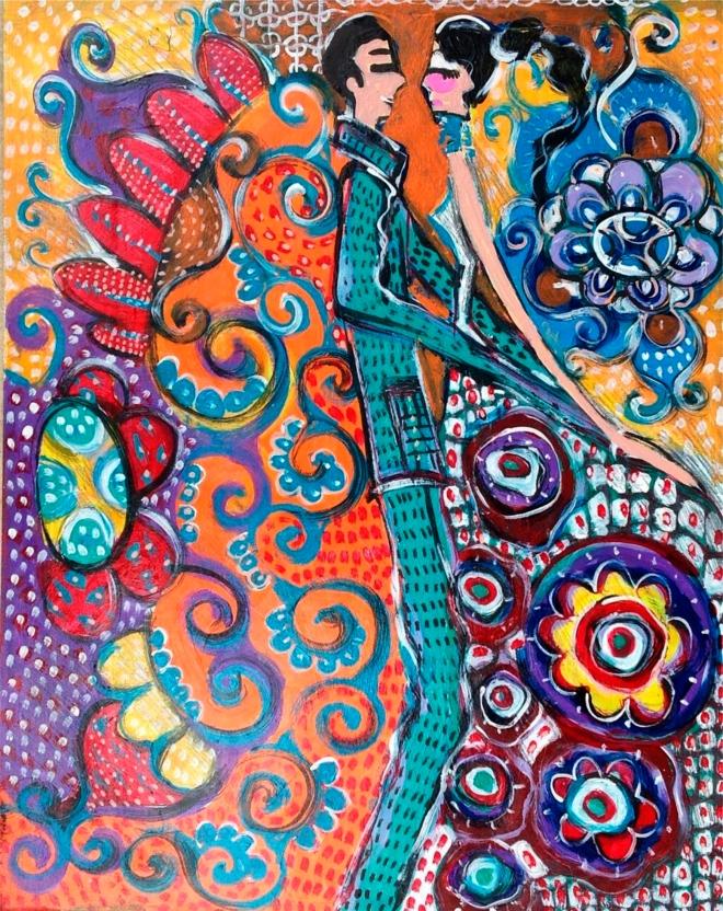 2015.59 série O Baile.Tecendo o poema do encontro. Acrílica s.papel50x40cm