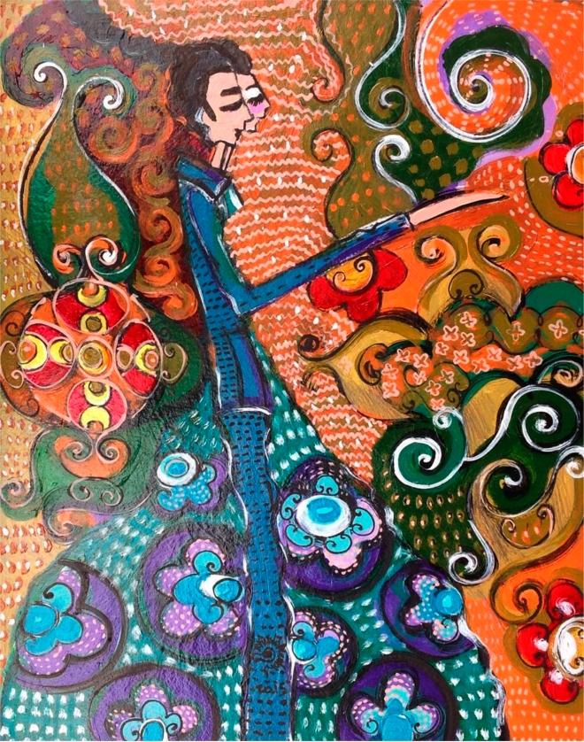 2015.60 série O Baile.Tecendo o poema do encontro. Acrílica s.papel50x40cm