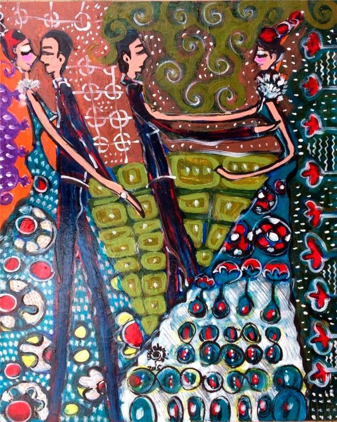 2015.61 série O Baile.Tecendo o poema do encontro. Acrílica s.papel50x40cm