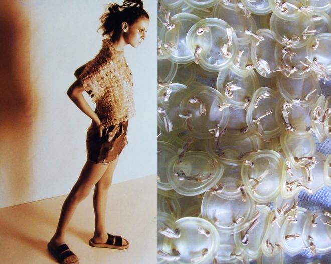 Da série OURIÇO - plásticos vedantes e fios de plalha (1996)| Ddaniela Aguilar | Foto João Araújo (esq.) e Manoel Leite (2dir)