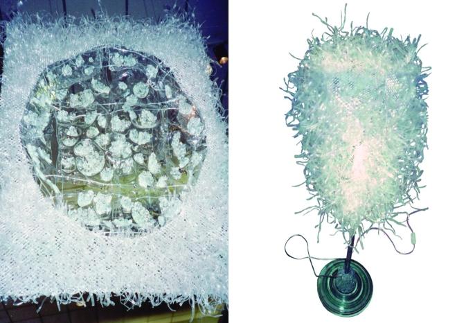 Luminárias e objetos Porco-espinho (2001) - alumínio , PET e vidros pós-consumo | Ddaniela Aguilar